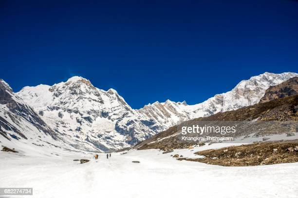 annapurna base camp, nepal. - machapuchare stock photos and pictures