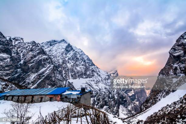 Annapurna Base Camp Trekking: sunset around Machapuchare Base Camp.