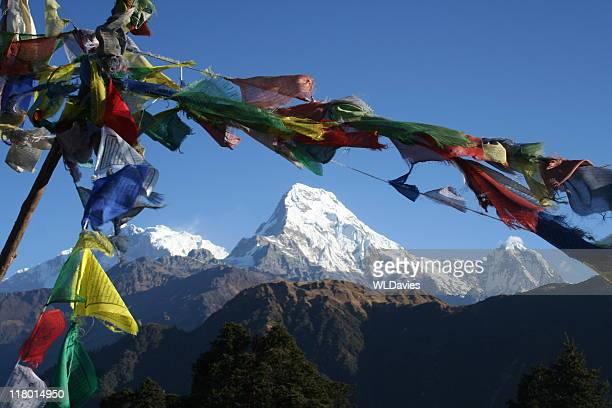 Annapurna framed by prayer flags