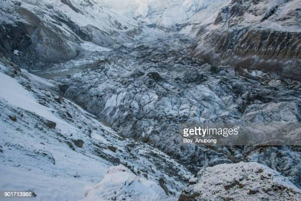 annapurna glacier at abc of annapurna sanctuary in nepal. - retreating ストックフォトと画像