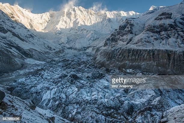 annapurna glacier at base camp. - retreating ストックフォトと画像