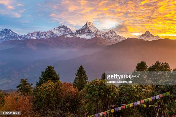 annapurna mountain range in the morning - machapuchare stock photos and pictures