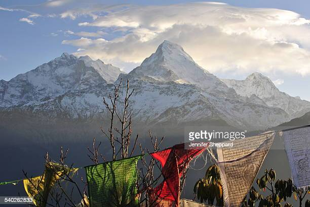 Annapurna Mountains and Buddhist Prayer Flags