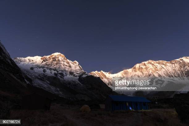 Annapurna range during morning light taking from Annapurna Base Camp.
