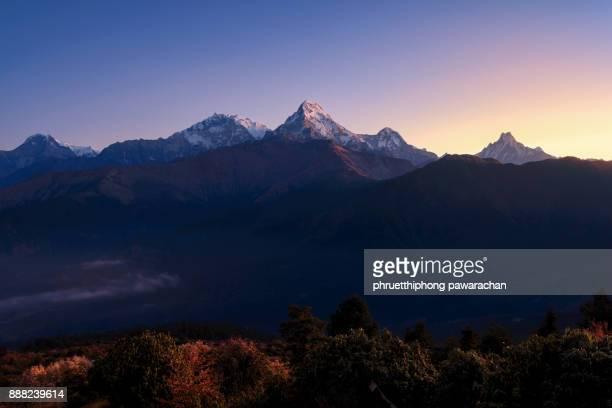 Annapurna range when sunrise.