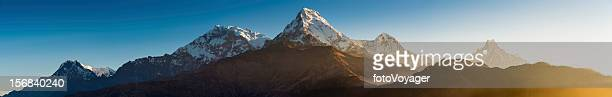 annapurna sunrise panorama from poon hill himalayas nepal - annapurna circuit stock photos and pictures