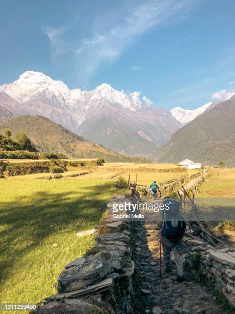 annapurna trek in nepal - annapurna south stock pictures, royalty-free photos & images