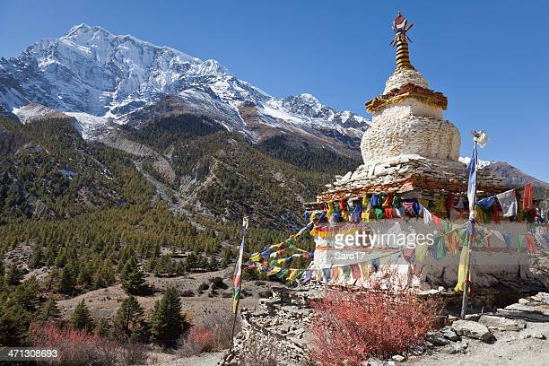 annapurna view, nepal - stupa stock pictures, royalty-free photos & images