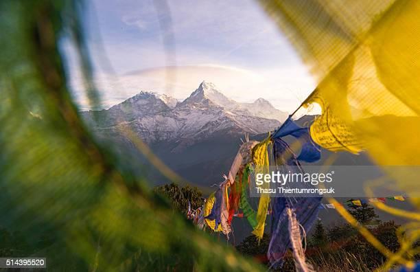 Annapurna with buddha flag