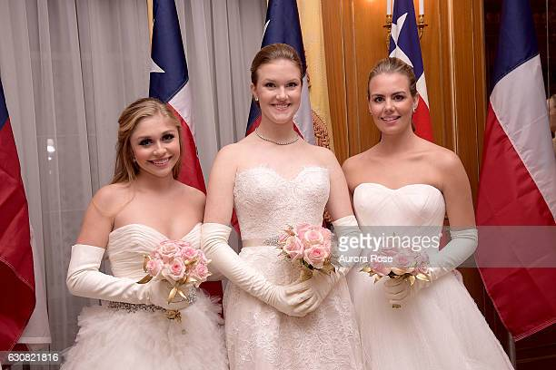 AnnaRiley Crenshaw Claire Chlebowski and Elisabeth Anne Carl attend 62nd International Debutante Ball at The Pierre Hotel on December 29 2016 in New...