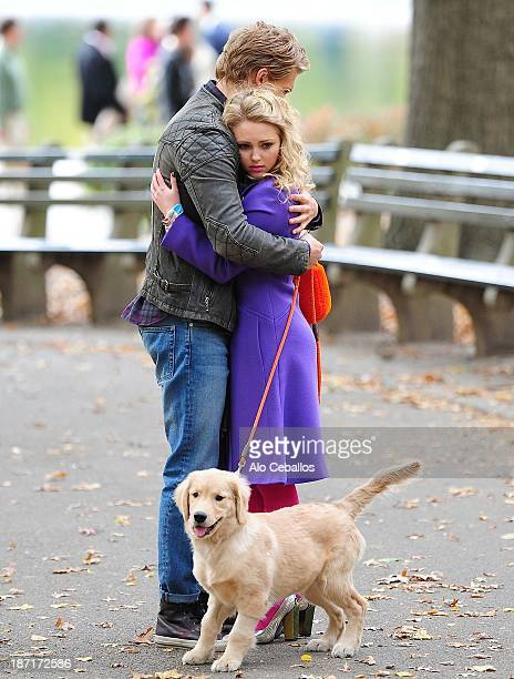 AnnaSophia Robb and Austin Butler are seen on the set of 'The Carrie Diaries' in Central Park on November 6 2013 in New York City