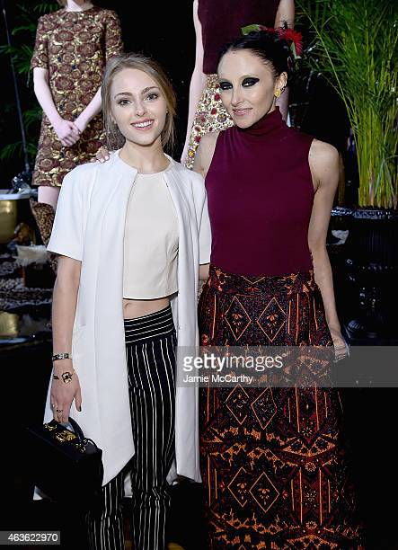 AnnaSophia Robb and Stacey Bendet attend the Alice Olivia presentation during MercedesBenz Fashion Week Fall 2015 on February 16 2015 in New York City