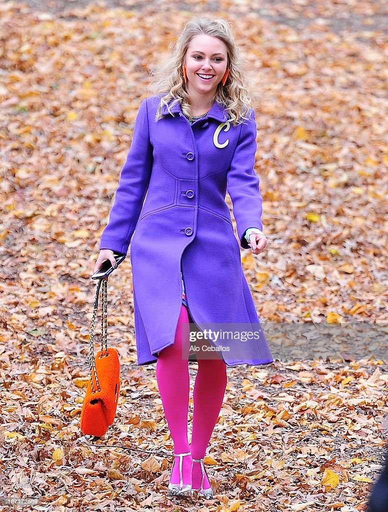 AnnaSophia Robb is seen on the set of 'The Carrie Diaries' in Central Park on November 6, 2013 in New York City.