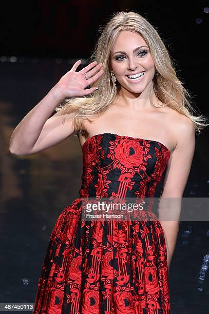 AnnaSophia Robb wearing Alice Olivia walks the runway at Go Red For Women The Heart Truth Red Dress Collection 2014 Show Made Possible By Macy's And...