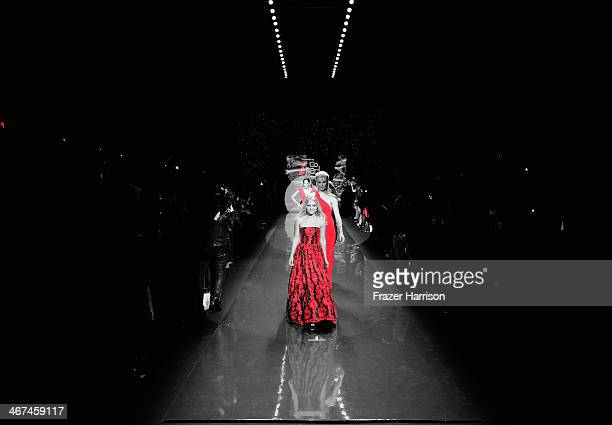 AnnaSophia Robb wearing Alice Olivia walks the runway at Go Red For Women The Heart Truth Red Dress Collection 2014 Show during MercedesBenz Fashion...