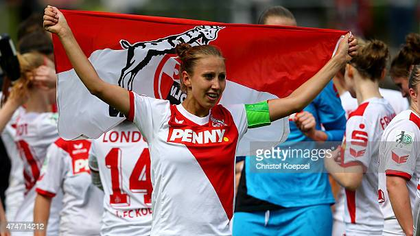 AnnaSophie Fliege of Koeln celebartes winning the Women's 2nd Bundesliga after the Women's 2nd Bundesliga match between 1 FC Koeln and Bayern...