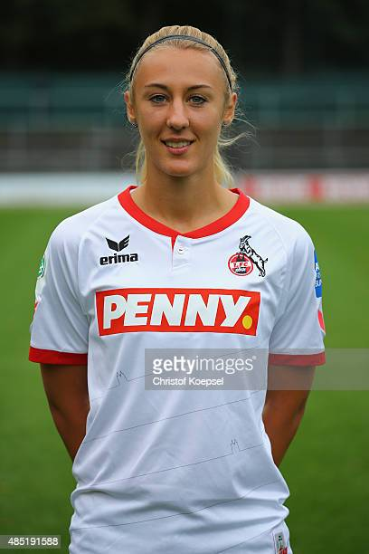 AnnaSophie Fliege poses during the team presentation of the women of 1 FC Koeln at FranzKremerStadion on August 25 2015 in Cologne Germany