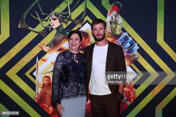 Annastacia Palaszczuk and Chris Hemsworth arrive for the Thor Ragnarok Australian Premiere at Event Cinemas Robina on October 13 2017 in Gold Coast...