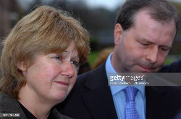 Anne and Patrick Rice parents of murdered teenager Rebecca make a statement to the press outside Norwich Crown Court