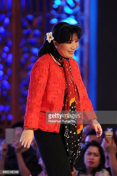 Anne Avantie greets the audiences during her 25th anniversary as a fashion designer at Pakuwon Imperial Ballroom on November 1 2015 in Surabaya...
