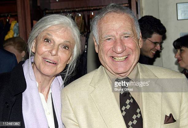 Anne Bancroft and Mel Brooks producers during Opening Night Party for the OffBroadway Play Squeeze Box at The West Bank Cafe in New York City New...