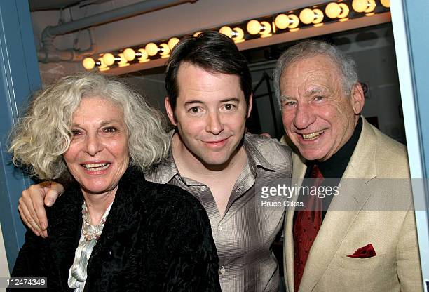 Anne Bancroft Matthew Broderick and Mel Brooks during Mel Brooks and Anne Bancroft Visit Matthew Broderick at 'The Foreigner' at The Roundabout Laura...