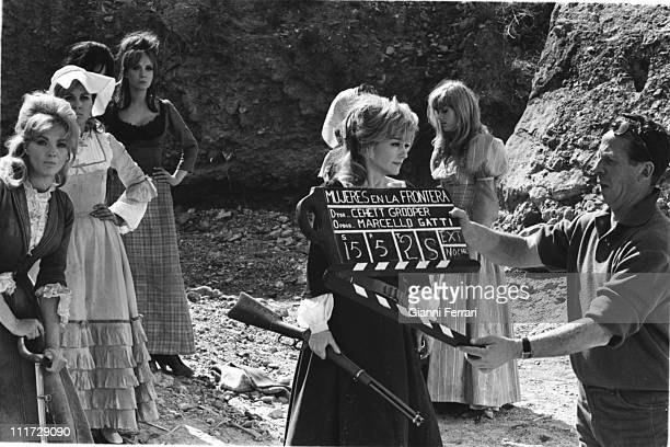 Anne Baxter during the filming of 'Las siete magnificas' directed by Gianfranco Parolini Almeria Spain