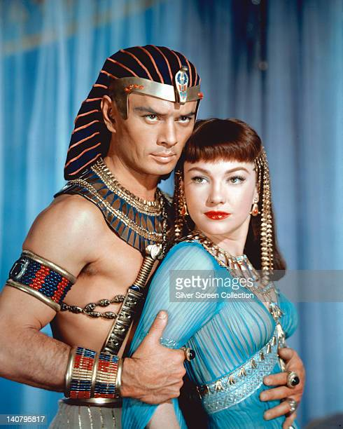 Anne Baxter US actress and Yul Brynner Russianborn US actor both in costume in a publicity portrait issued for the film 'The Ten Commandments' 1956...