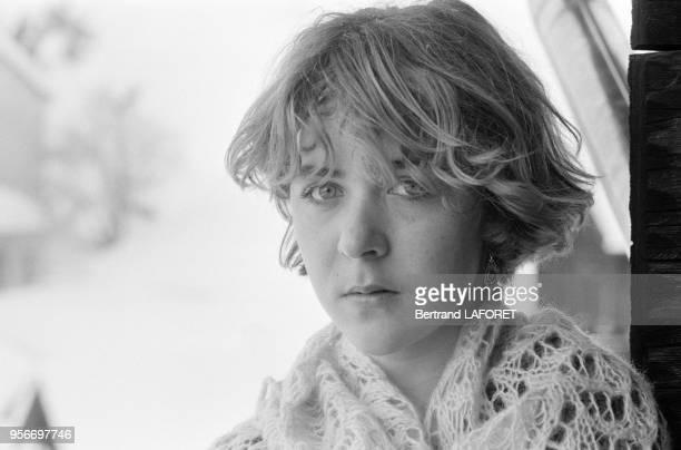 Anne Bennent et dans leur chalet à Valais en Suisse le 10 janvier 1980