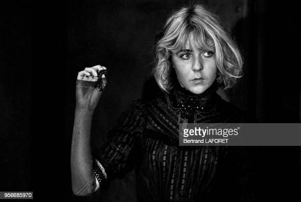 Anne Bennent sur le tournage du film 'Lulu' réalisé par Walerian Borowczyk à Berlin en octobre 1979 Allemagne