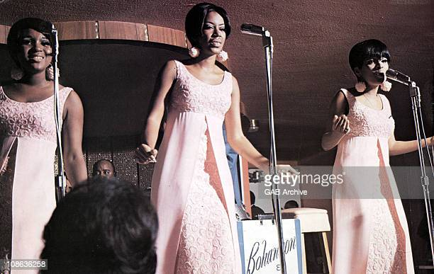 Anne Bogan Katherine Anderson and Wanda Young of Motown girl group The Marvelettes perform on stage in the United States circa 1967