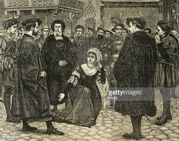 Anne Boleyn Queen of England as the second wife of Henry VIII led to the gallows to be executed by beheading after being accused by her husband of...