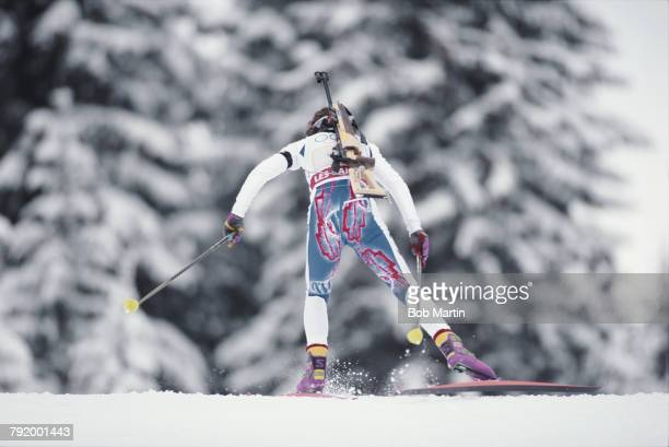 Anne Briand of France skiing in the Women's 3 x 7.5 kilometre biathlon relay competition on 14 February 1992 during the XVI Olympic Winter Games at...