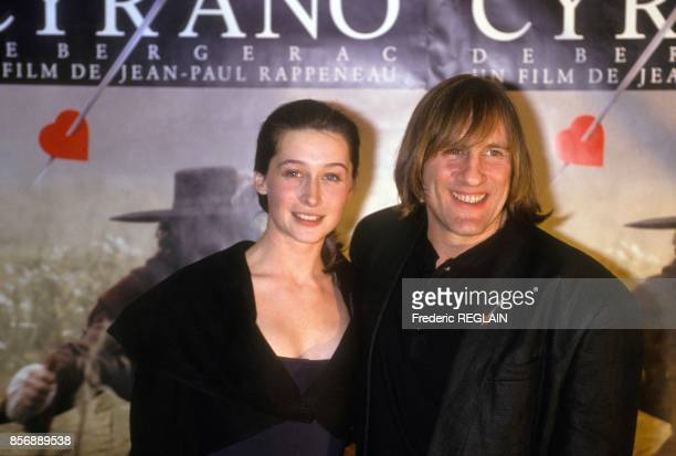 Anne Brochet and Gerard Depardieu attend the premiere of movie Cyrano de Bergerac directed by Jean Paul Rappeneau on March 27 1990 in Paris France