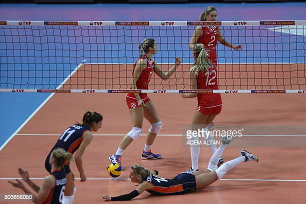 Anne Bujs and Laura Djkema of The Netherlands miss the ball played by Barun Susnjar Tamara Susic and Ana Grbac of Croatia during their European...