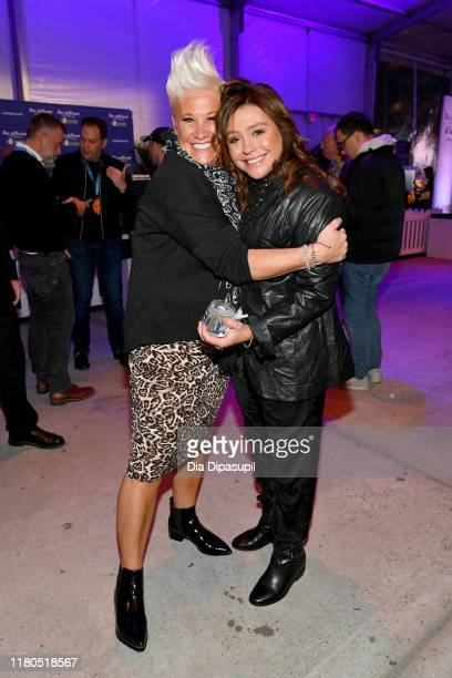 Anne Burrell and Rachael Ray attend the Blue Moon Burger Bash presented by Pat LaFrieda Meats hosted by Rachael Ray at Pier 97 on October 11, 2019 in...