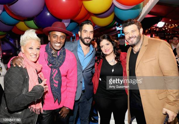 Anne Burrell Marcus Samuelsson Mike Castellon Alex Guarnaschelli and Adam Richman attend Food Network's 25th Birthday Party Celebration at the 11th...