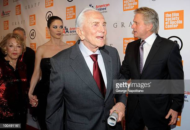 Anne Buydens Douglas, Catherine Zeta-Jones, Kirk Douglas and Michael Douglas attend the The Film Society of Lincoln Center's 37th Annual Chaplin...