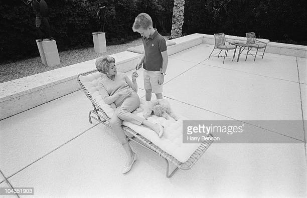 Anne Buydens wife of American actor Kirk Douglas with their son Eric 22nd March 1966