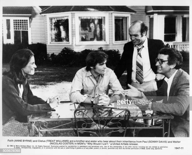 Anne Byrne Treat Williams Sonny Carl Davis and Nicolas Coster talk about thier inheritance in a scene from the MGM movie Why Would I Lie circa 1980