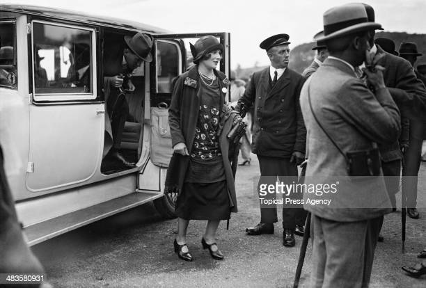 Anne Catherine Tredick Wendell Countess of Carnarvon arrives for the Glorious Goodwood horse racing meeting at Goodwood Racecourse West Sussex...