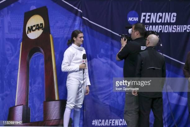 Anne Cebula of Columbia is interviewed after winning the championship in Women's Epee at the National Collegiate Fencing Championships on March 24 at...