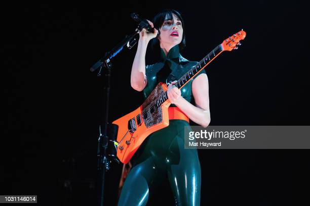 Anne Clark aka St. Vincent performs on stage during the Florence and the Machine 'High As Hope' tour at KeyArena on September 10, 2018 in Seattle,...