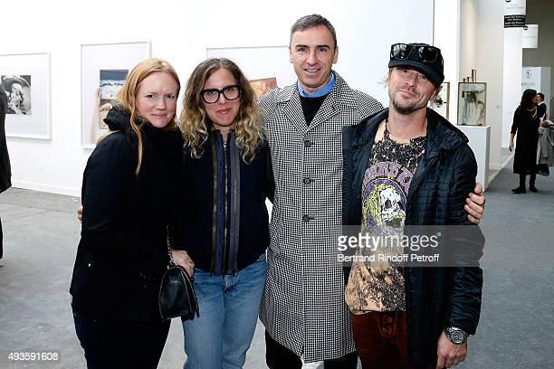 Anne Collier; Melanie Schiff, Fashion Designer Raf Simons and Artist Sterling Ruby attend the 'FIAC 2015 - International Contemporary Art Fair' at Le...
