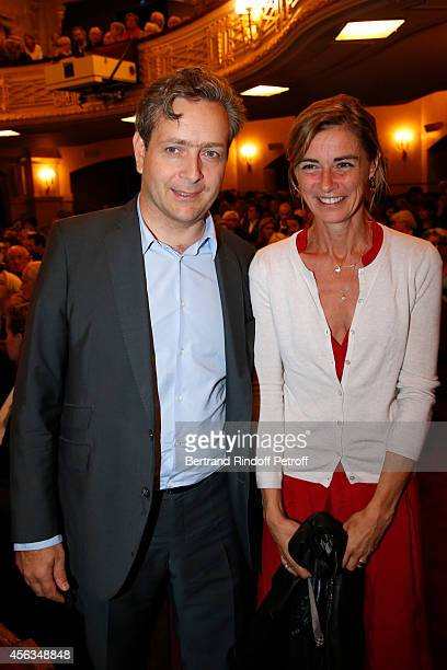 Anne Consigny and her husband Eric De Chassey attend the tribute to Gisele Casadesus celebrating her 100th anniversary at Theatre Edouard VII on...