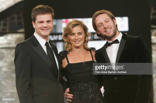 Anne Consigny Florian Gallenberger and Benjamin Herrmann attends the John Rabe premiere at the 9th Marrakesh Film Festival at the Palais des Congres...