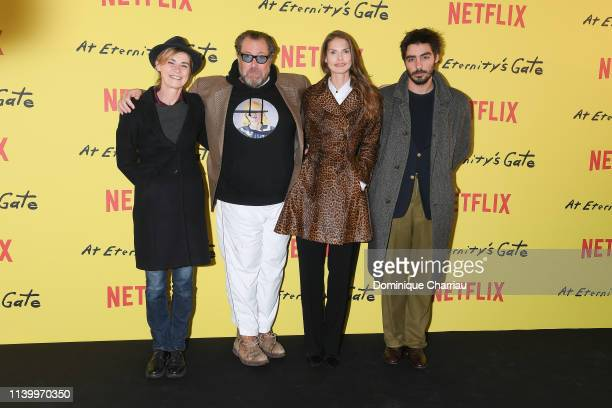 Anne Consigny Julian Schnabel and Wladimir Consigny attend At Eternity's Gate Photocall at Musee du Louvre on April 02 2019 in Paris France