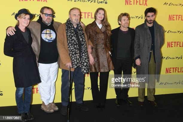 Anne Consigny Julian Schnabel JeanClaude Carriere Louise Kugelberg Willem Dafoe and Wladimir Consigny attend At Eternity's Gate Photocall at Musee du...