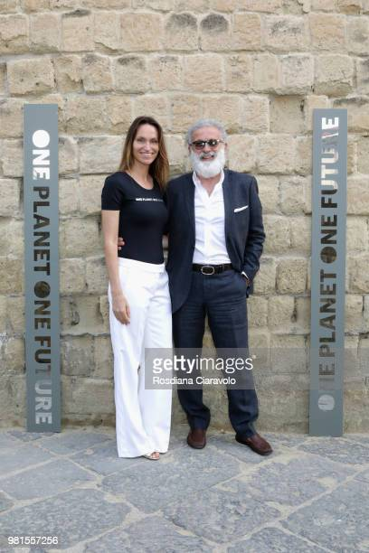 Anne de Carbuccia and Cesare Mari attend One Planet One Future Cocktail Party on June 22 2018 in Naples Italy