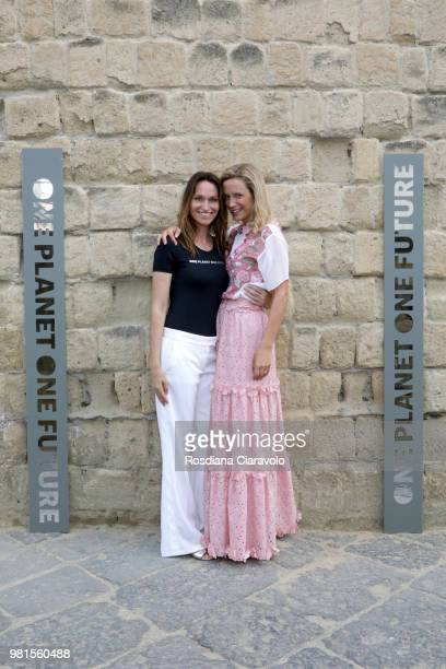 Anne de Carbuccia and Hannah Collman attend One Planet One Future Cocktail Party on June 22 2018 in Naples Italy